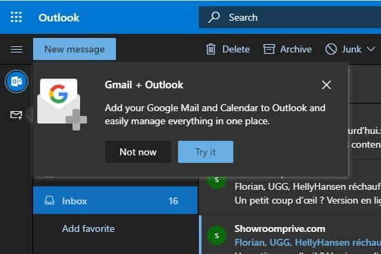 access Gmail and Google Drive directly on Outlook