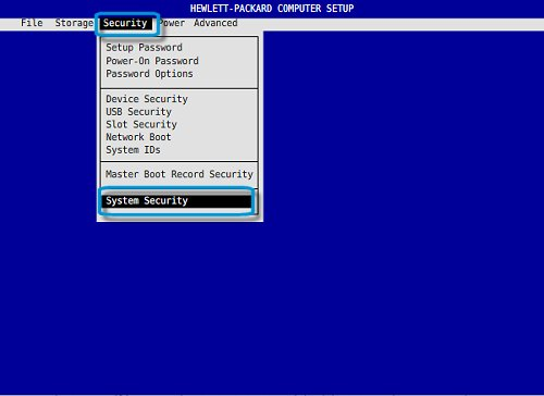 Enable Master Boot Record Security