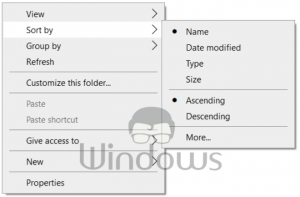 Check Disabled Auto Arrange in Folders on Windows 10