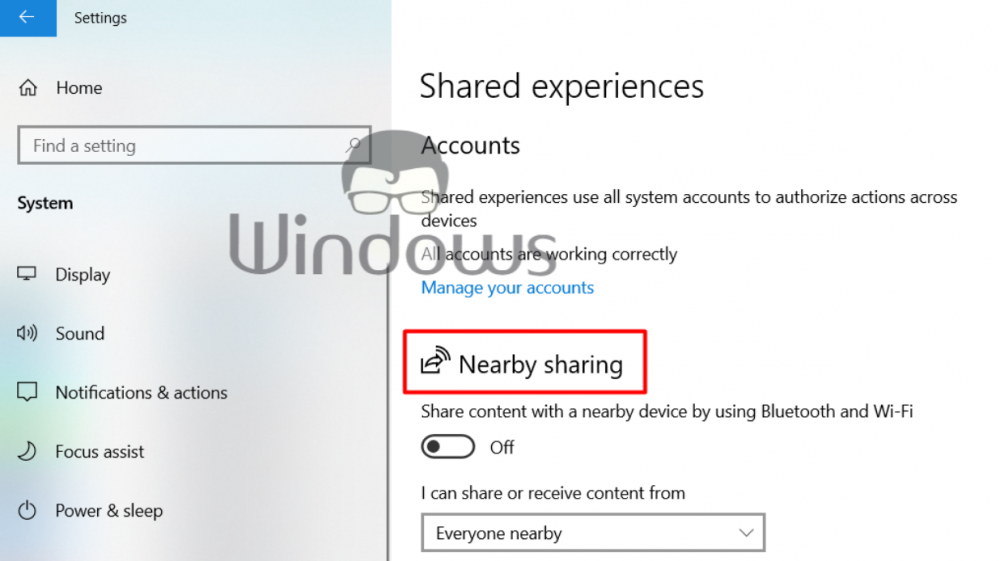 Disable Windows 10 Shared Experiences