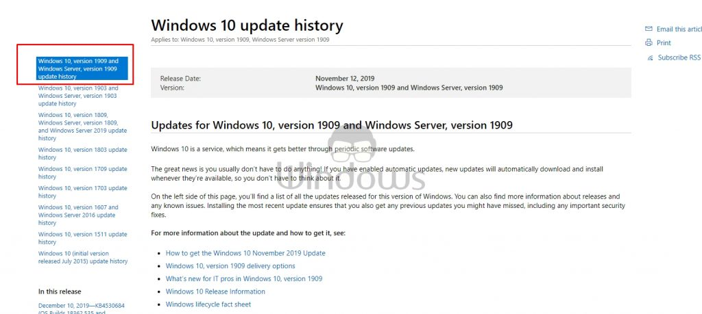 Windows Update History page.
