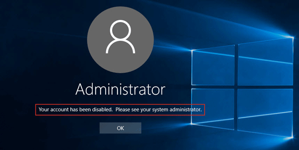 Your account has been disabled windows 10