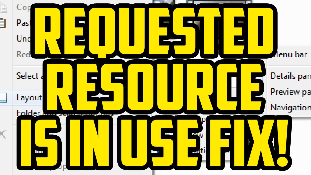 The requested resource is in use