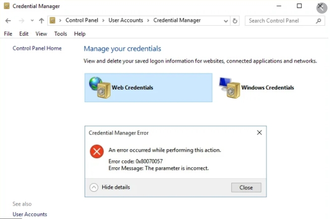 Credential Manager Error 0x80070057 on Windows 10