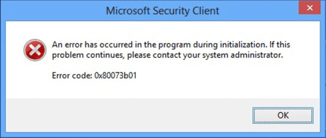 Microsoft Defender error 0x80073b01 on Windows 10