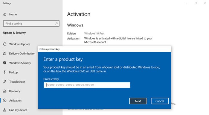 Fix Change product key link not available in Windows 10