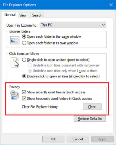 Clear File Explorer history
