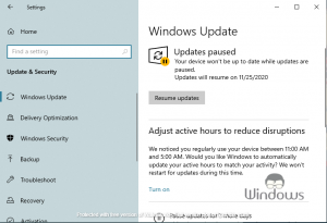 Pause Windows 10 Updates for 35 Days