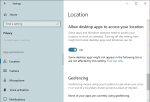 Disable Location Access in Windows 10