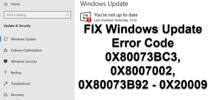 Fix Windows Update Error Codes