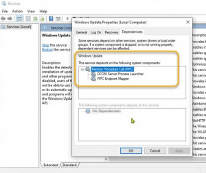 Windows Update components to automatic