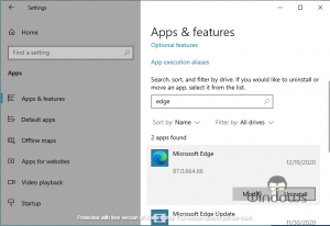 Uninstall Microsoft Edge in Windows 10