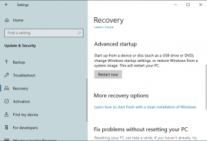 Recovery Mode in Windows 10