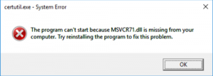 How to Fix MSVCR71.dll is missing
