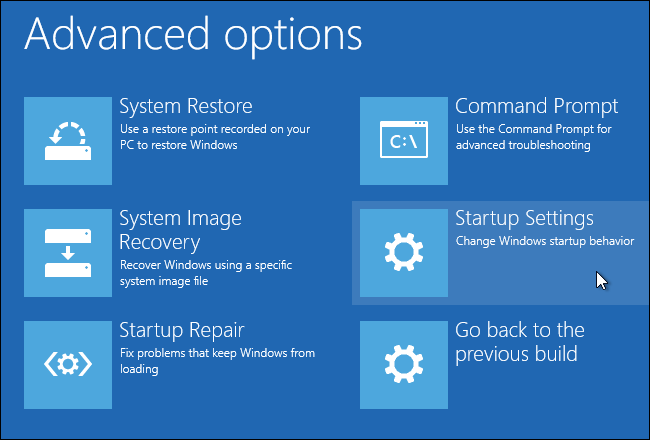 System Restore using Advanced Recovery
