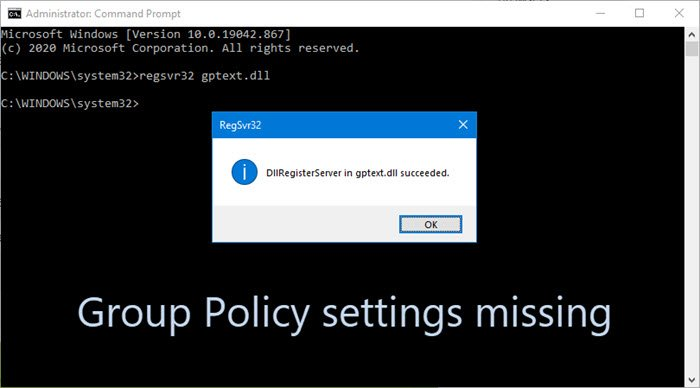 Group Policy settings missing in Windows 10