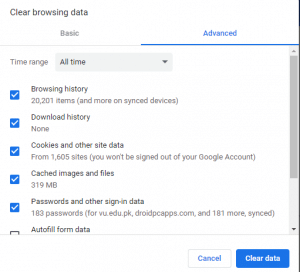 Clear Browsing Data in Chrome