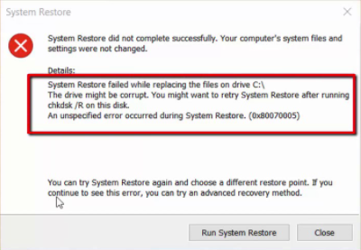 System Restore failed to replace the file, 0x80070780 Windows 10