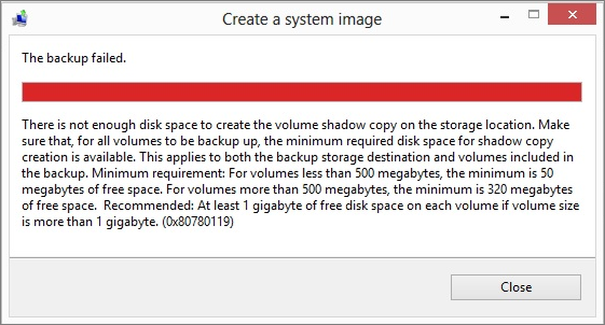The backup failed, 0x80780119 error on Windows 10