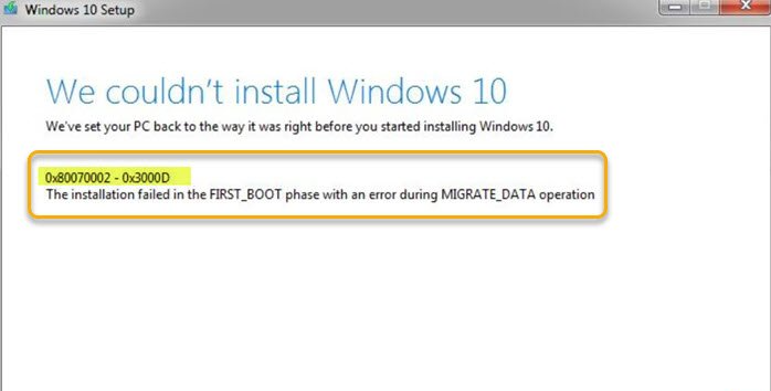 Windows 10 Upgrade Install error