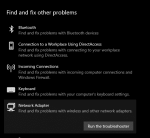 Run the Network Adapter troubleshooter