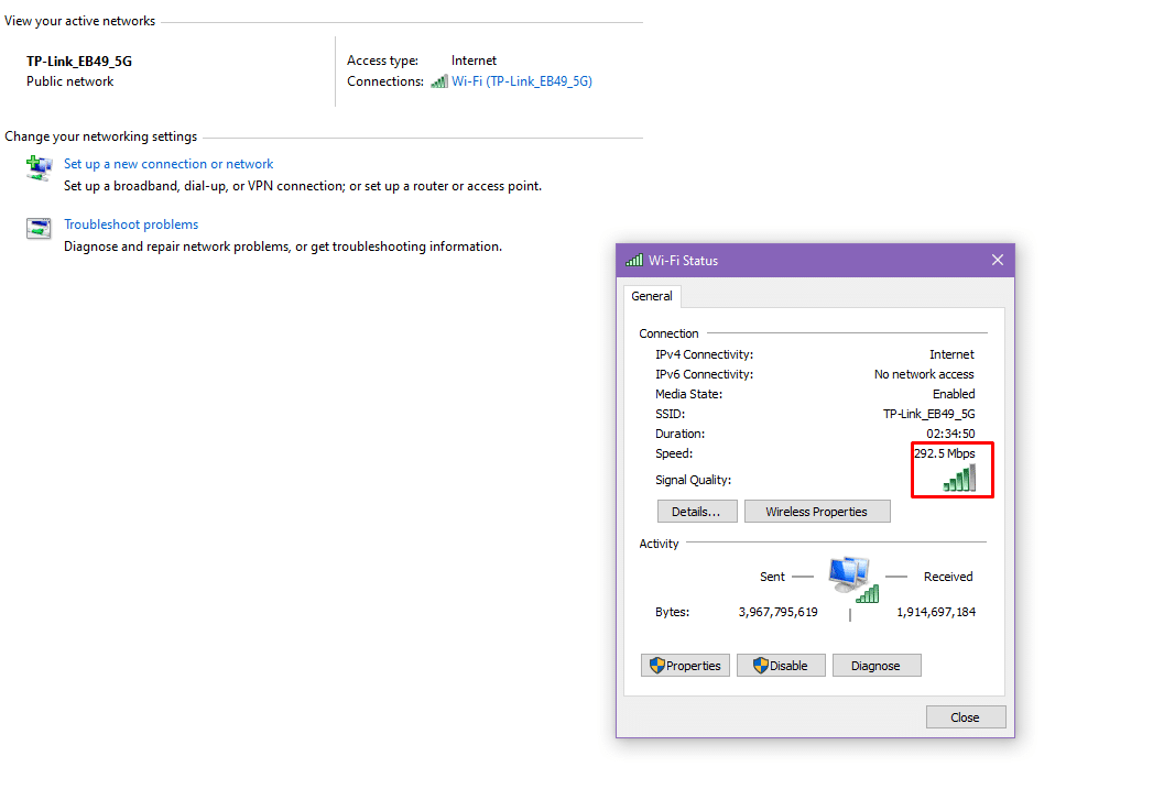 How to check Network Adapter Speed on Windows 10
